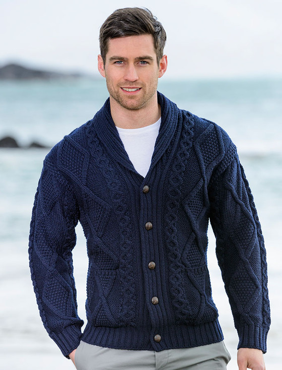 Mens Shawl Neck Cardigan, Mens wool cardigan, Aran