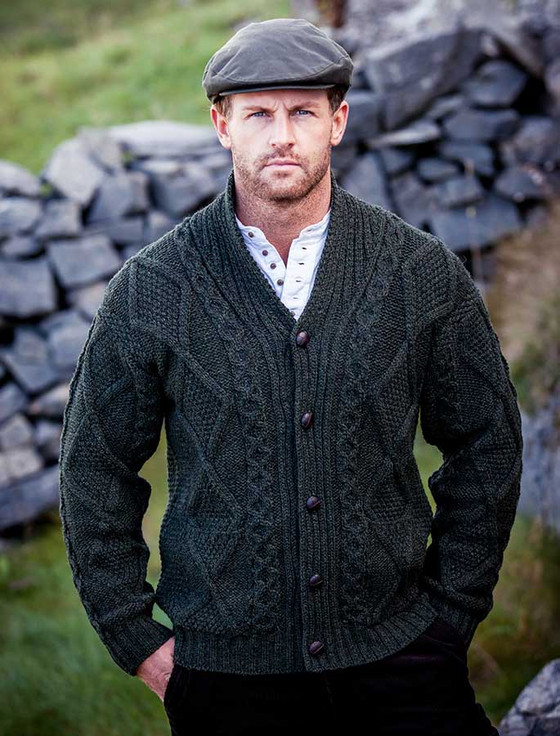 Mens Shawl Neck Cardigan Mens Wool Cardigan Aran
