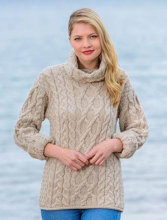 Ladies Sweaters Cable Knit Cardigan Irish Knitwear Aran Sweater