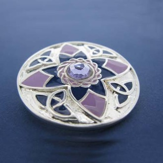 Silver Plated Celtic Brooch with Purple Enamel