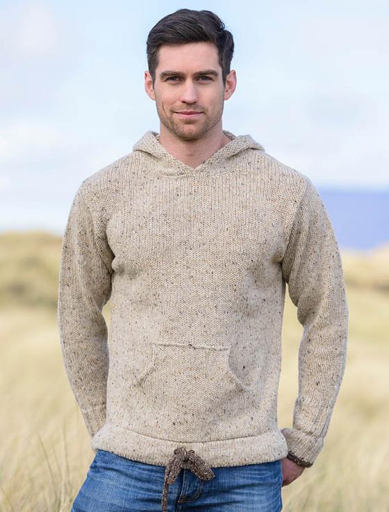 e5594dccae9e79 Men\u0027s Wool Hoodie with Pouch Pocket , Beige ...