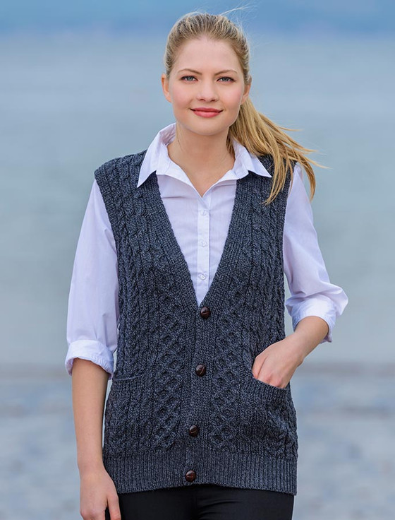 Ladies Wool Waistcoat Sweater Vest For Women Cable Knits