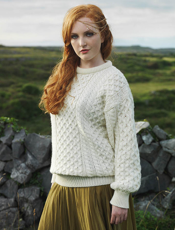 Irish Aran Wool Sweater, Womens Irish Sweater, Wool Sweater