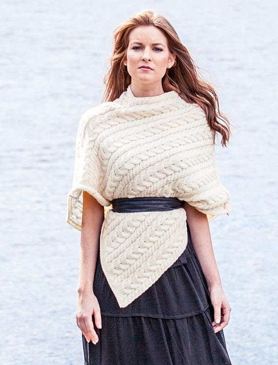 Women's Merino All Cable Poncho - Natural White