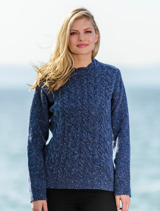 Wool Cashmere Aran Cable Merino Sweater - Denim