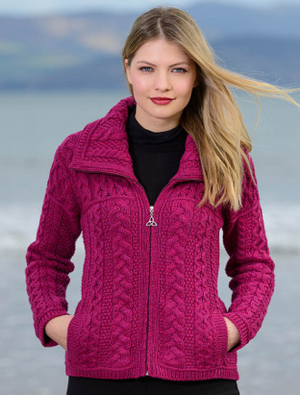 Double Collar Zip Merino Aran Cardigan - Raspberry
