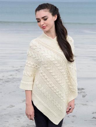 Aran Cable Poncho - White