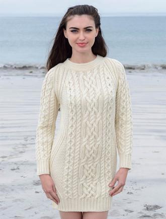 Aran Wool Sweater Dress / Long Tunic - White