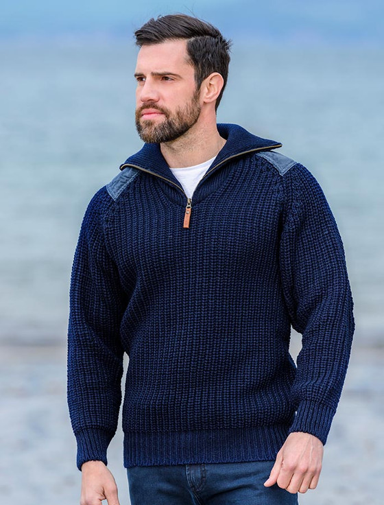 Fisherman's half zip sweater with patches, Fisherman Sweater