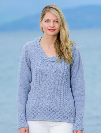 Luxury Aran Plaited Neck Sweater - Sky Blue