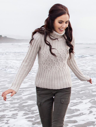 Ribbed Polo Neck Sweater with Criss Cross Pattern