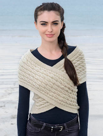Cable Knit Wrap Top with Buttoned Side - Oatmeal