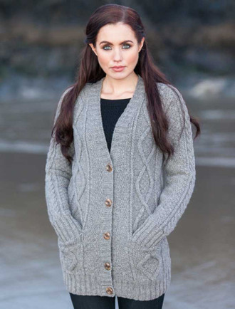 Women's Aran V-Neck Cabled Cardigan