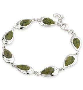 Rhodium Oval Connemara Marble Bracelet