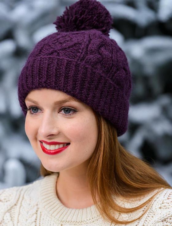 Aran Fleece Lined Rib Cap with Bobble - Purple