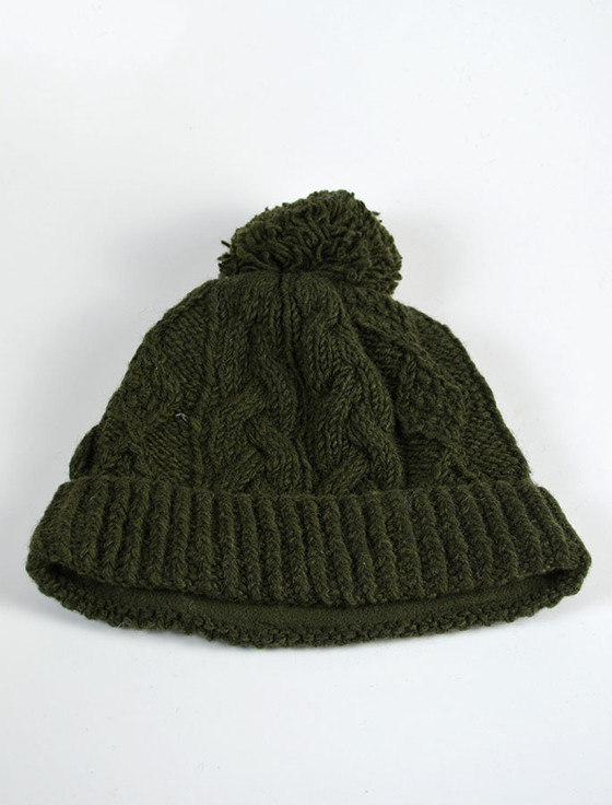 Aran Fleece Lined Rib Cap with Bobble - Army