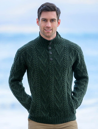Buttoned Merino Wool Sweater - Army