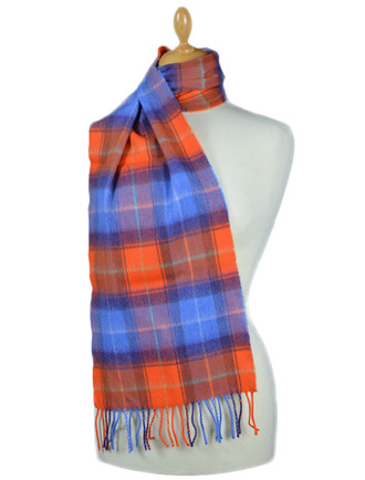 Fine Merino Plaid Scarf - Orange Blue