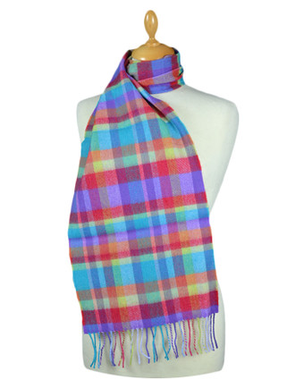 Fine Merino Plaid Scarf - Multi-Colour