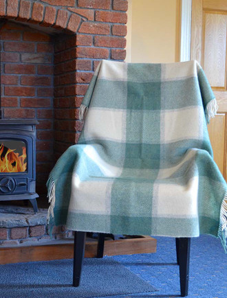 Plaid Wool Throw - Sage Beige