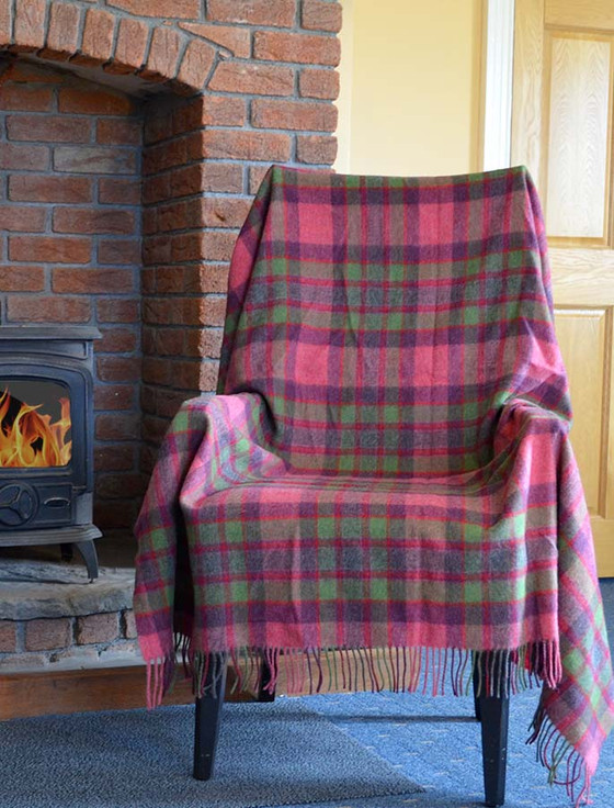 Lambswool Plaid Throw - Watermelon Pink Green