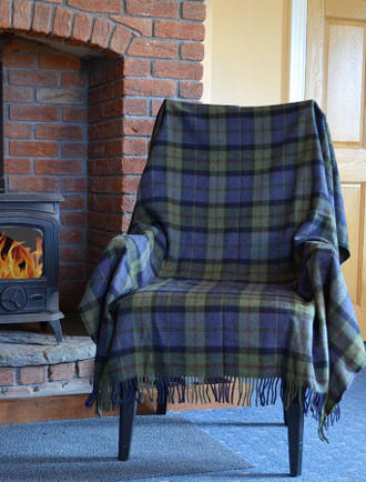 Lambswool Plaid Throw - Olive Blue Black