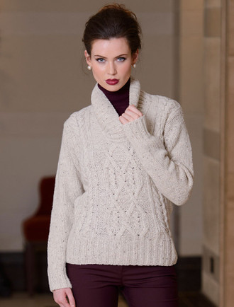 Wool Cashmere Shawl Neck Cable Sweater