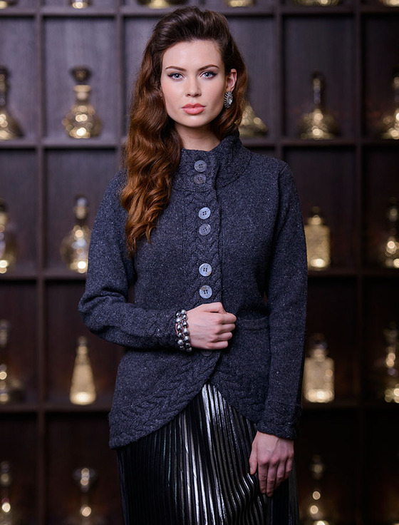 Wool & Cashmere Cable Trim Cardigan