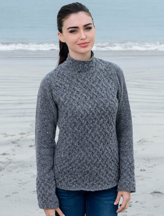 Wool Cashmere Aran Trellis Sweater - Middle Grey