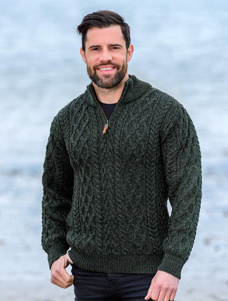 Zip-Neck Aran Sweater - Army Green
