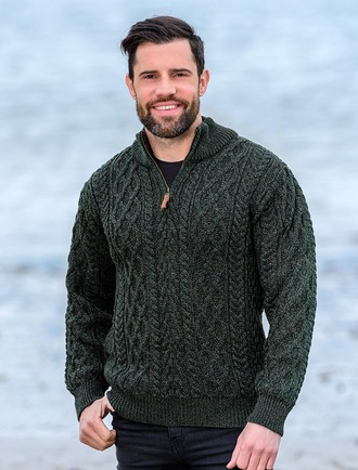 Zip-Neck Aran Sweater - Army Green