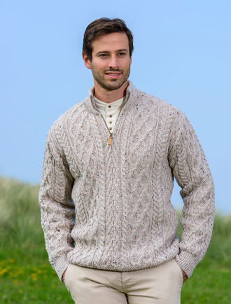 Zip-Neck Aran Sweater - Oatmeal
