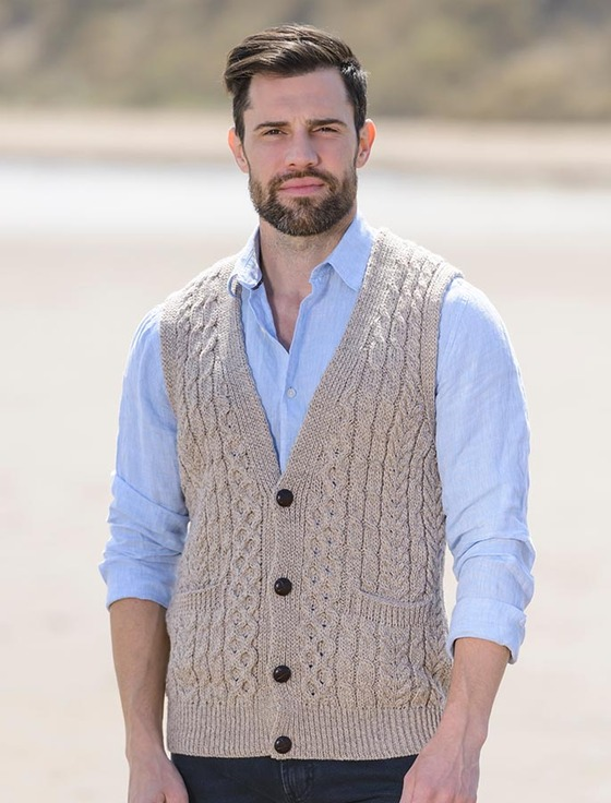 Mens sweater vest buttons, sweater vest for men | Aran Sweater Market