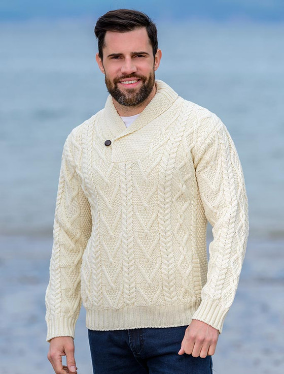 Mens Shawl Collar Sweater, Shawl Neck | Aran Sweater Market