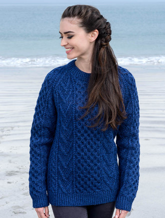 Handknit New Wool Honeycomb Stitch Aran Sweater - Nightshade