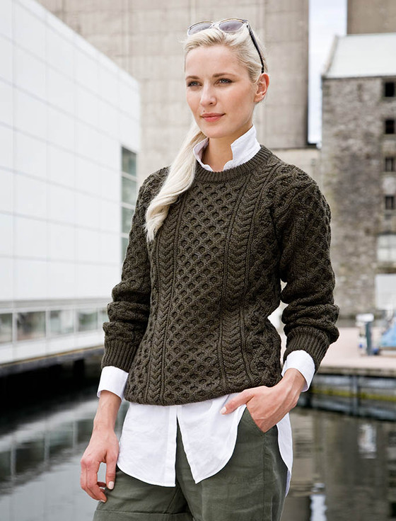 Heavyweight Merino Wool Aran Sweater - Forest Marl