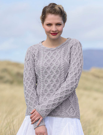 Lambay Aran Sweater for Women - Silver