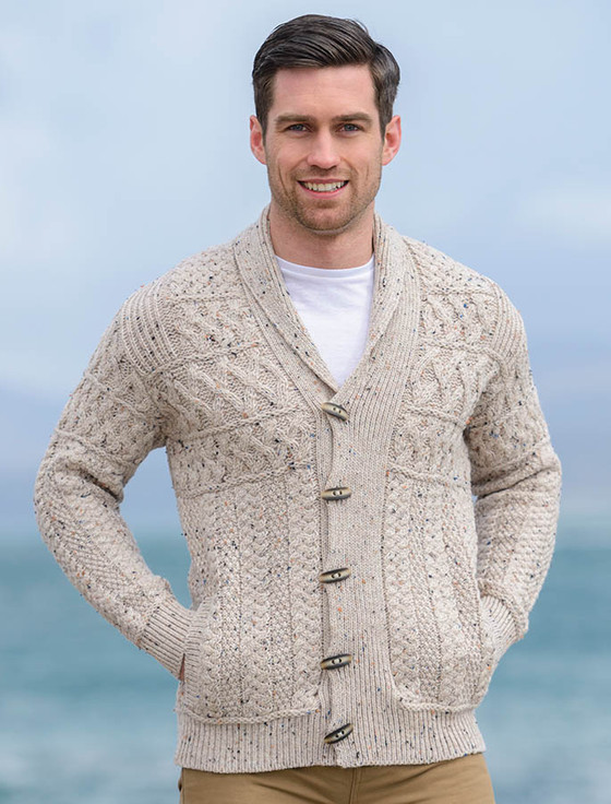 Men S Shawl Collar Cardigan Aran Sweater Market