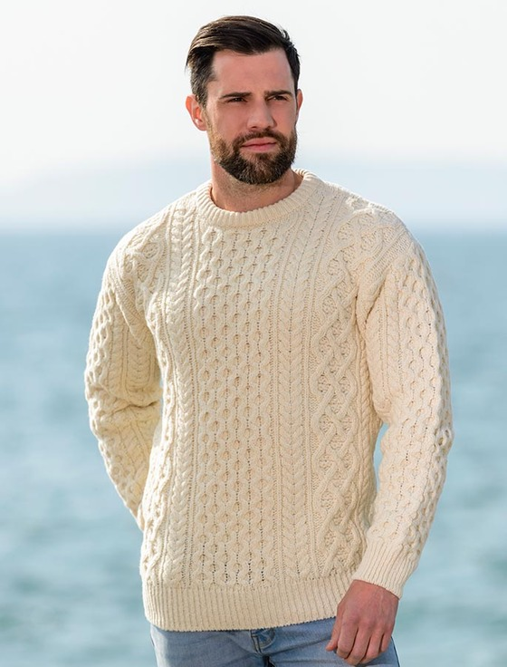 Heavyweight Merino Wool Aran Sweater- Oatmeal