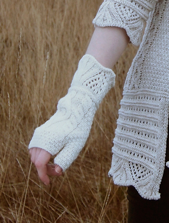 Fingerless Mittens With Scallop Lace