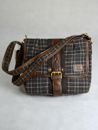 Tartan & Leather Book Bag