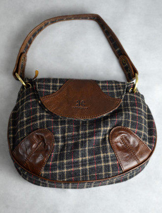 Tartan & Leather Teardrop Bag