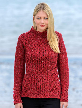 Women's Wool Cashmere Aran Mock Turtleneck Sweater - Red