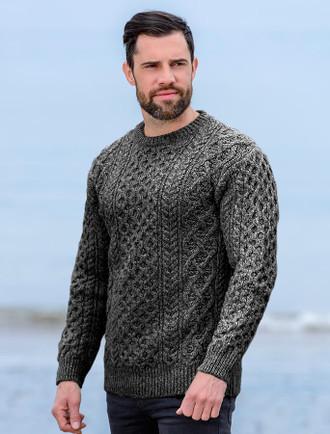 Wool Cashmere Aran Sweater - Mid Grey