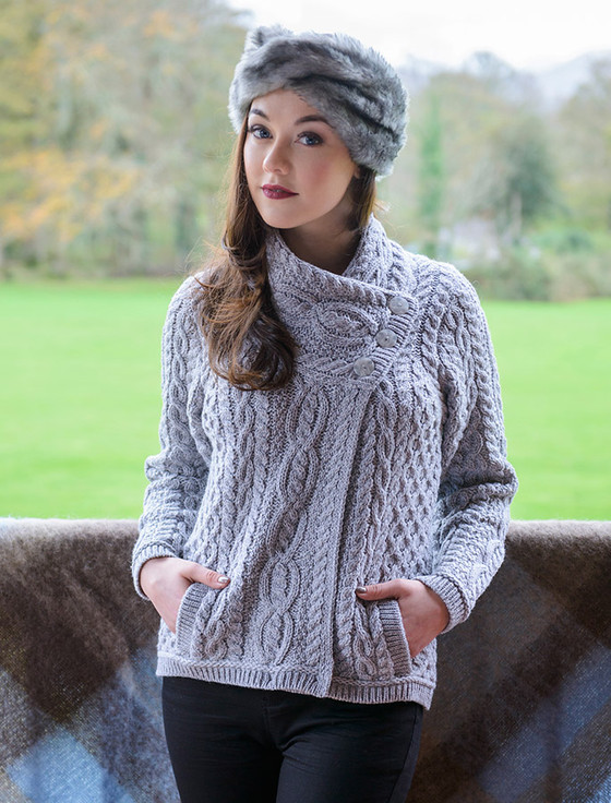 Aran Cable Crossover Neck Sweater