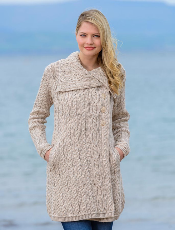 Large Collar Aran Coat - Parsnip