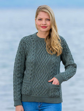 Cable Crew Neck Sweater with Pockets - Tundra
