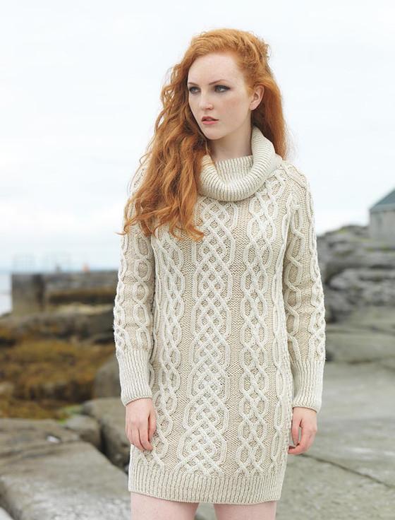 Cowl Neck Aran Plaited Sweater Dress