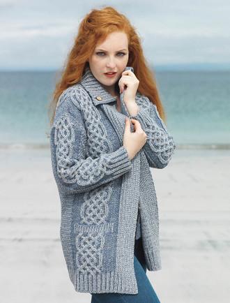 Plaited Merino Wool Coatigan - Soft Grey/Mist