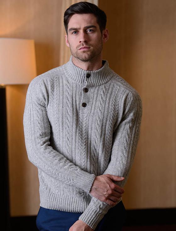 Luxury Aran Button Collar Sweater